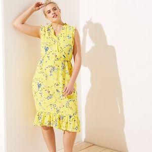 NWT Loft Plus Yellow Floral Ruffle Flounce Dress